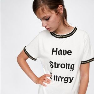 Zara Slogan & Chains tee shirt dress Chanel dupe